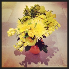 Yellow flowers from Coffin Spray