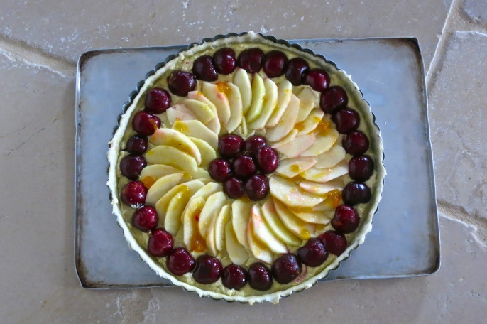 Cherry and Apple Frangipane Tart (uncooked)